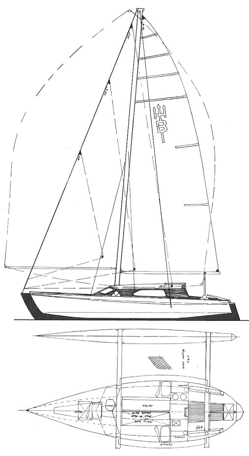 Buccaneer 28 (Crowther) drawing on sailboatdata.com