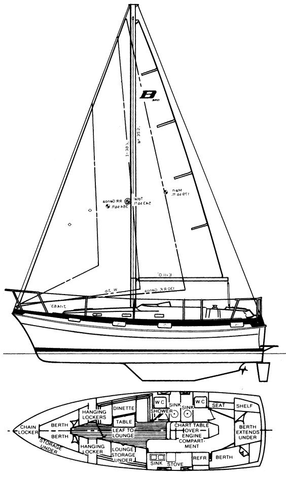 Buccaneer 325 drawing on sailboatdata.com
