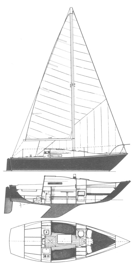 C&C 25-1 drawing on sailboatdata.com
