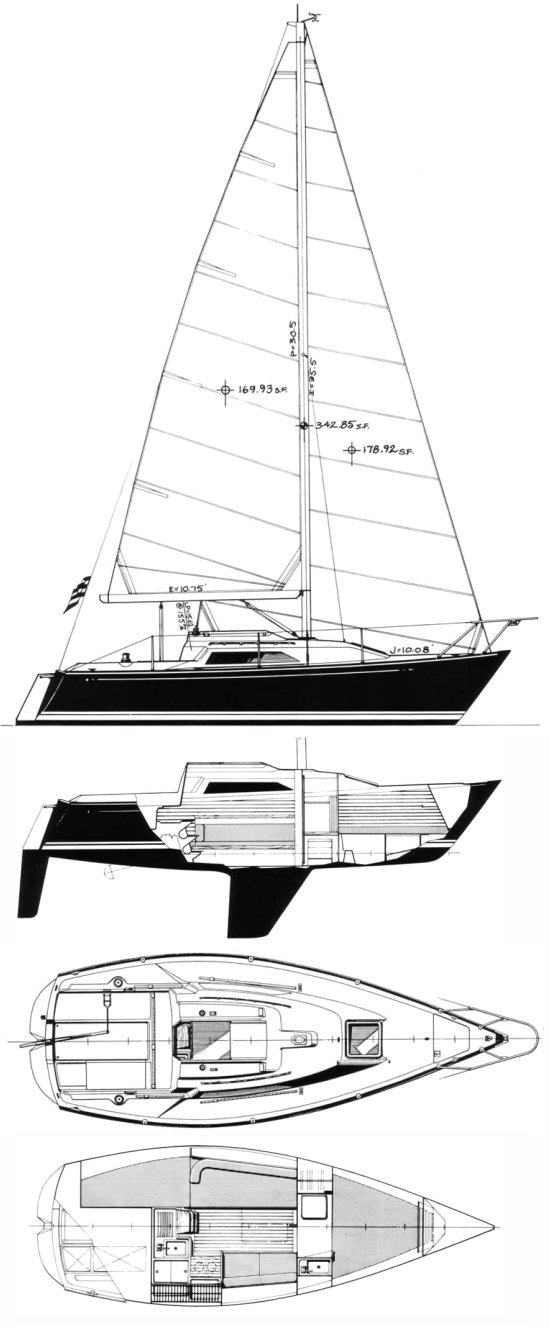 C&C 27 MK 5 drawing on sailboatdata.com