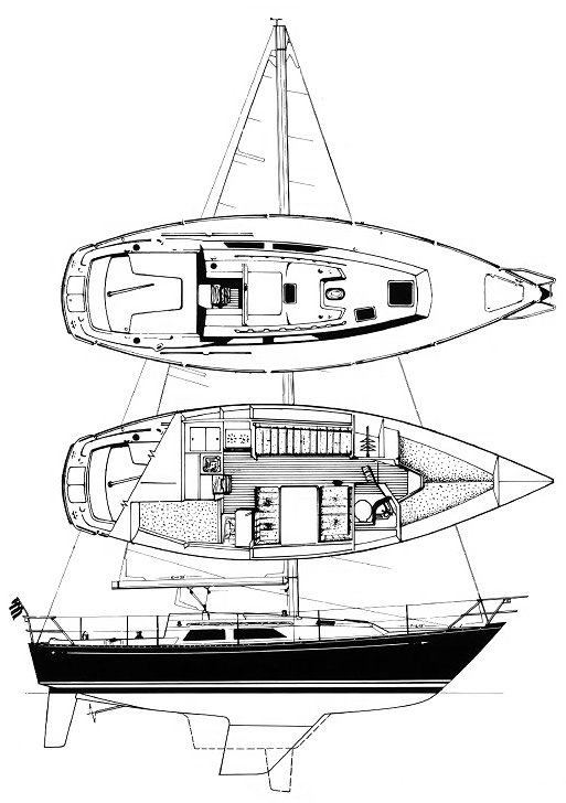C&C 32 drawing on sailboatdata.com