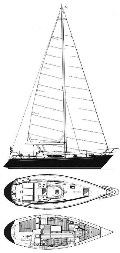 C&C 33-2 drawing on sailboatdata.com