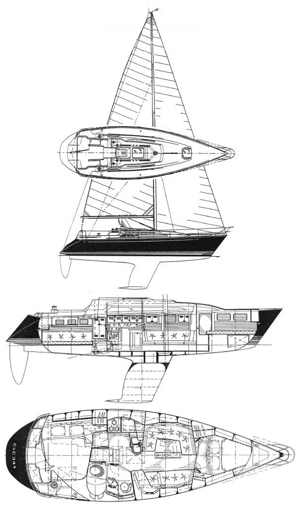 C&C 34R drawing on sailboatdata.com