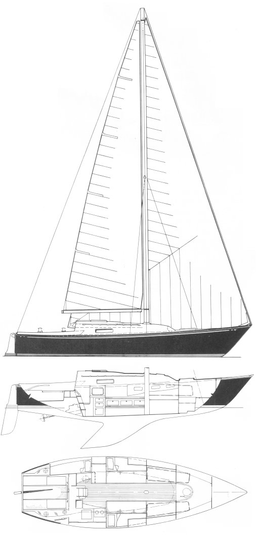 C&C 36R drawing on sailboatdata.com