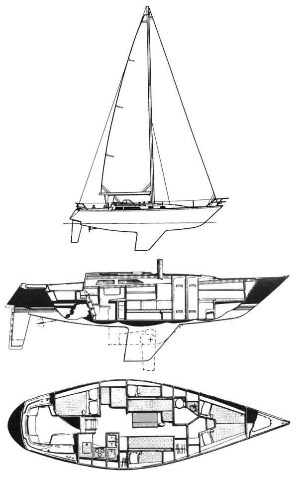 C&C 40-2 drawing on sailboatdata.com