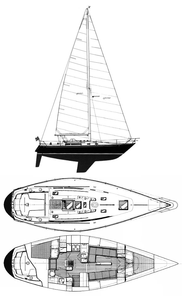 C&C 40-2 Aft Cabin drawing on sailboatdata.com