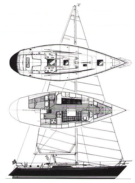 C&C 41 drawing on sailboatdata.com