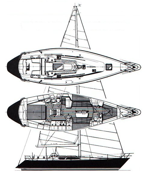 C&C 44 drawing on sailboatdata.com