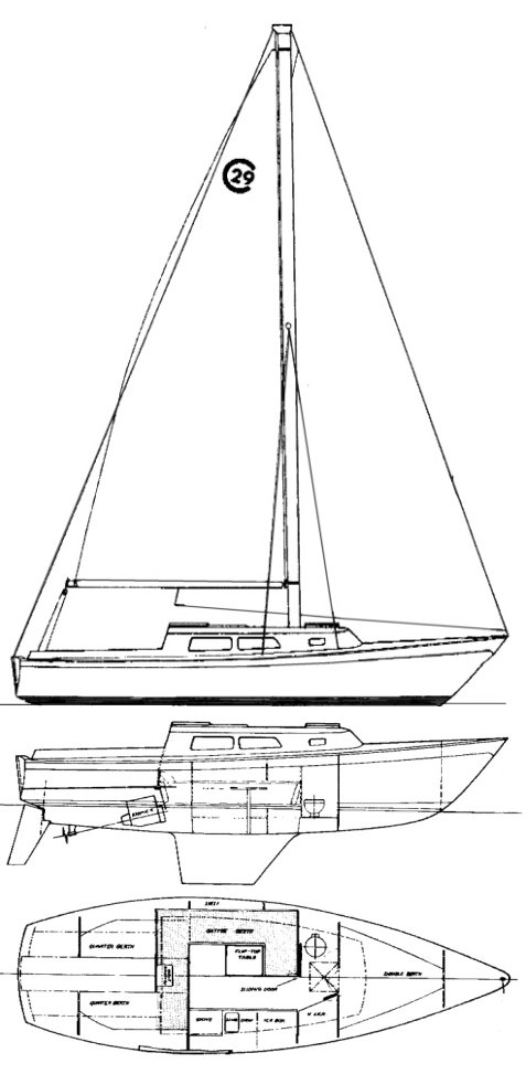 Cal 2-29 drawing on sailboatdata.com