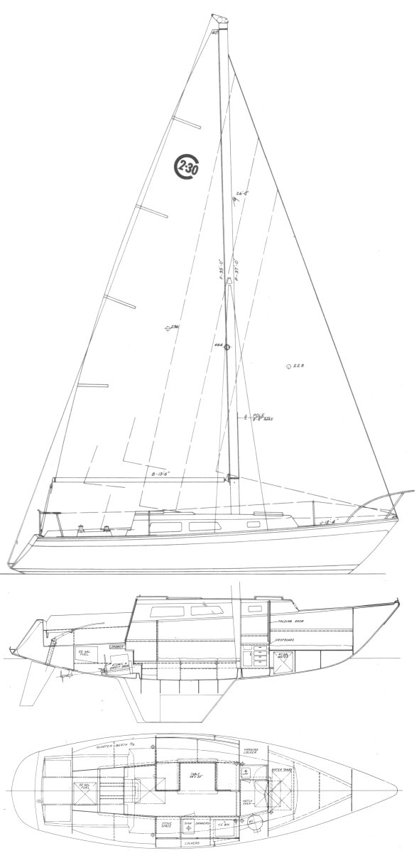 Cal 2-30 drawing on sailboatdata.com