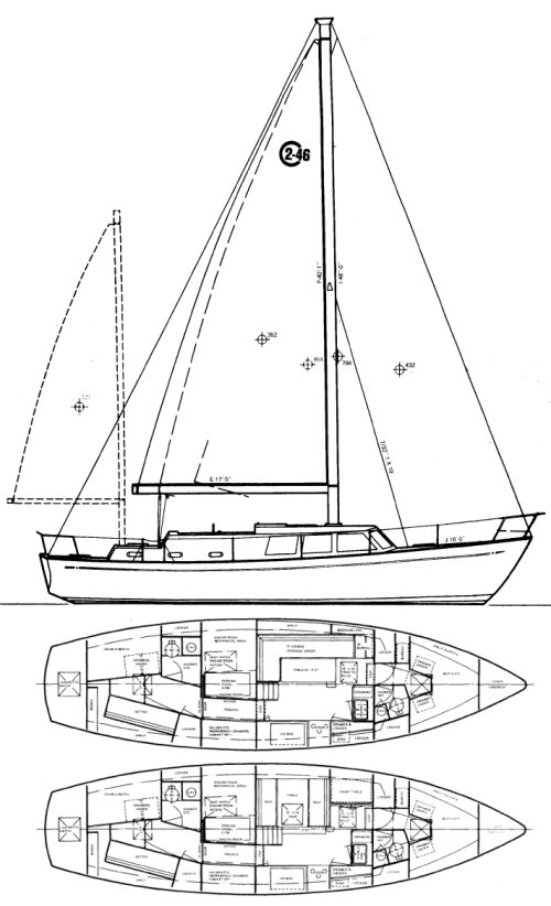 Cal 2-46 drawing on sailboatdata.com