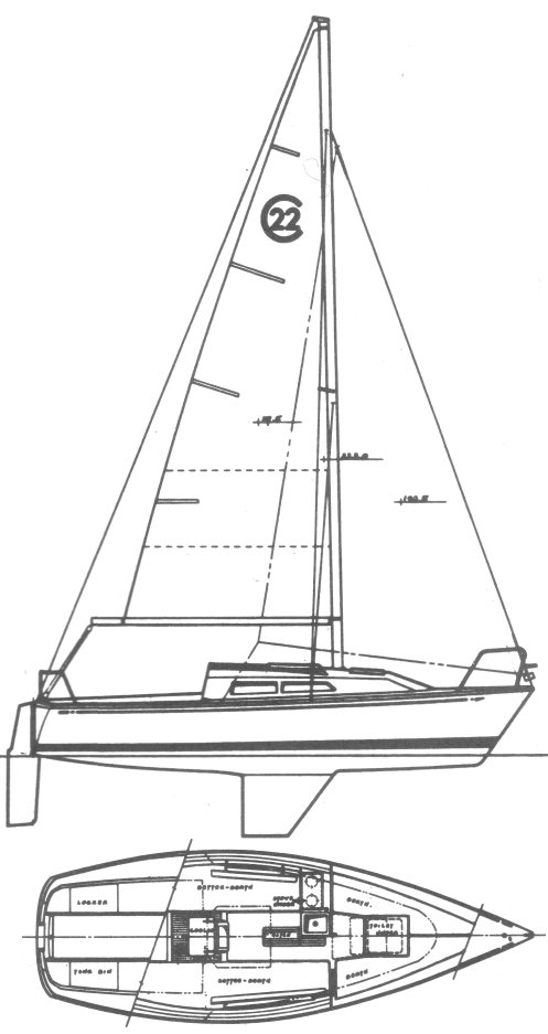 Cal 22 drawing on sailboatdata.com