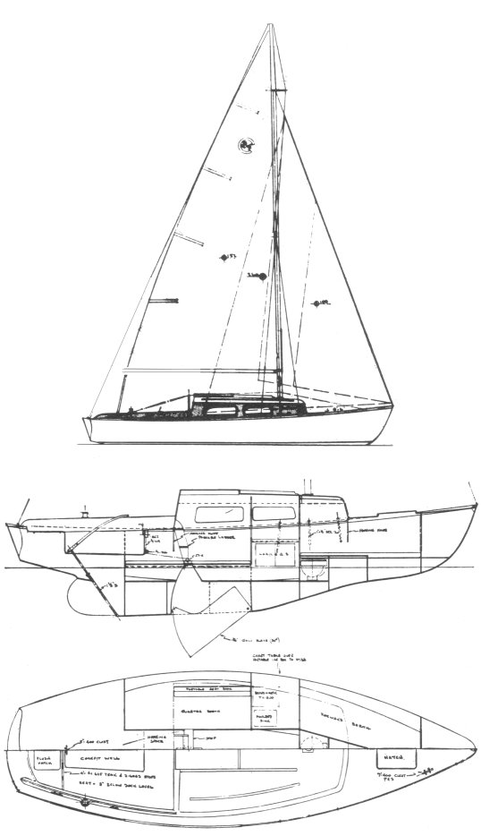 Cal 24 drawing on sailboatdata.com