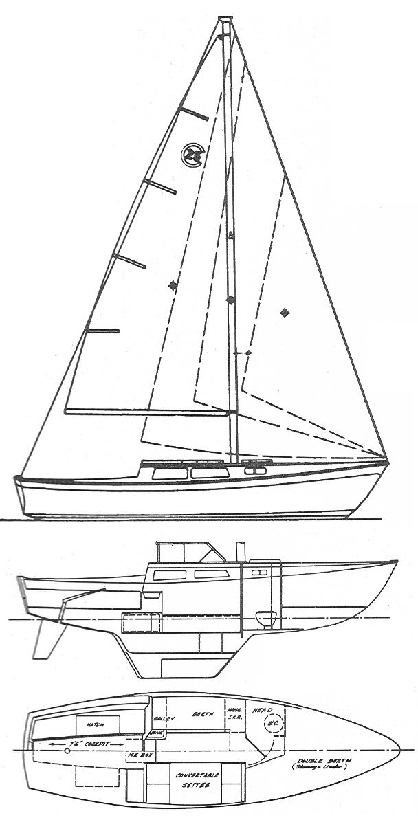 Cal 25-1 drawing on sailboatdata.com