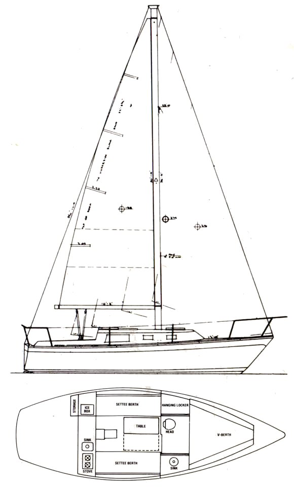 Cal 27-2 drawing on sailboatdata.com