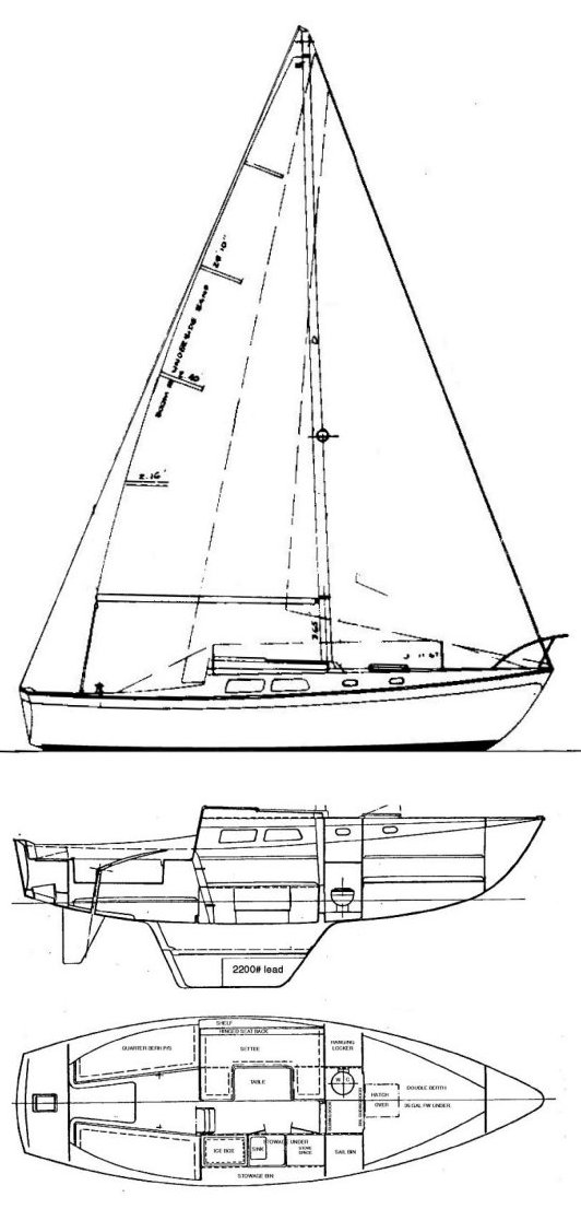 Cal 28-1 drawing on sailboatdata.com