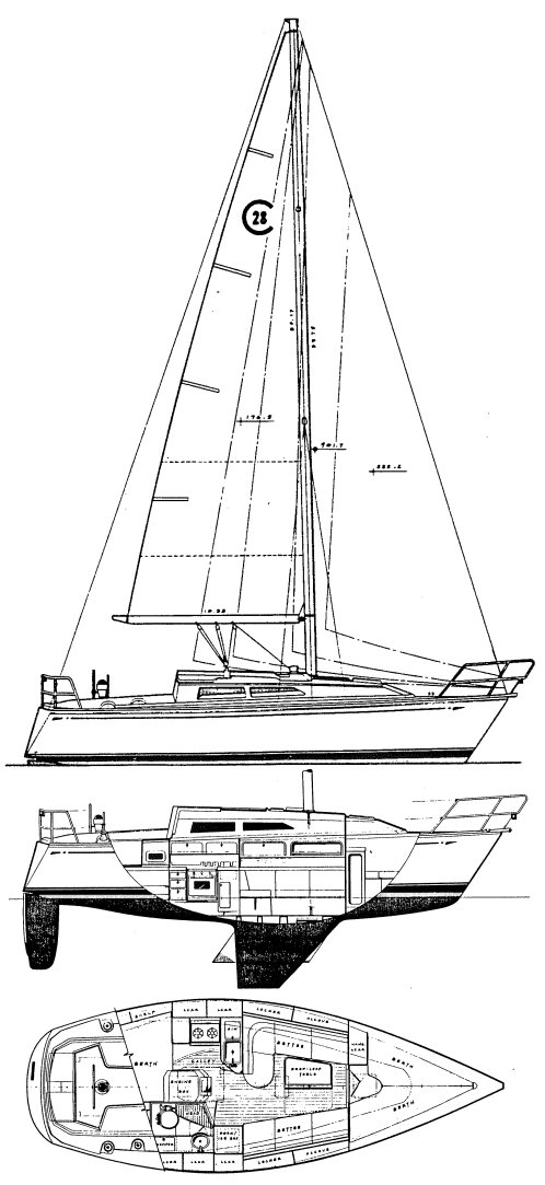 Cal 28-2 (Hunt) drawing on sailboatdata.com
