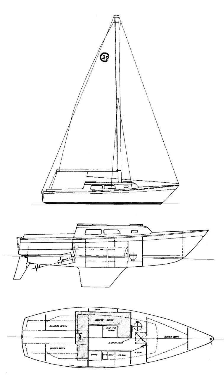 Cal 29-1 drawing on sailboatdata.com