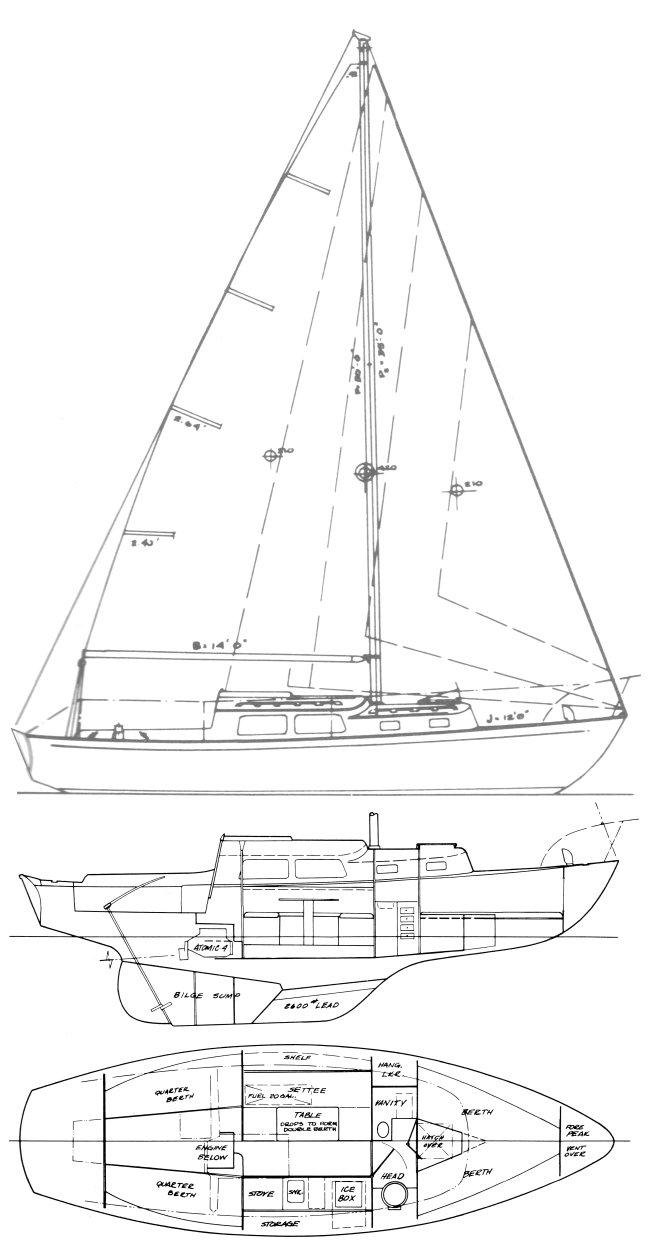 Cal 30-1 drawing on sailboatdata.com
