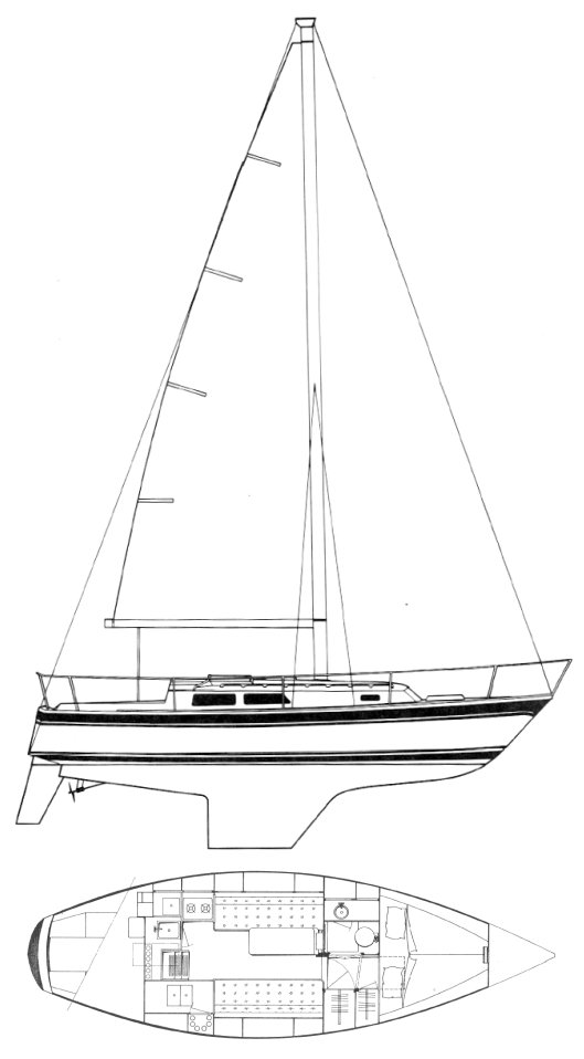 Cal 31 drawing on sailboatdata.com