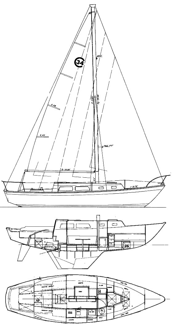 Cal 34 drawing on sailboatdata.com