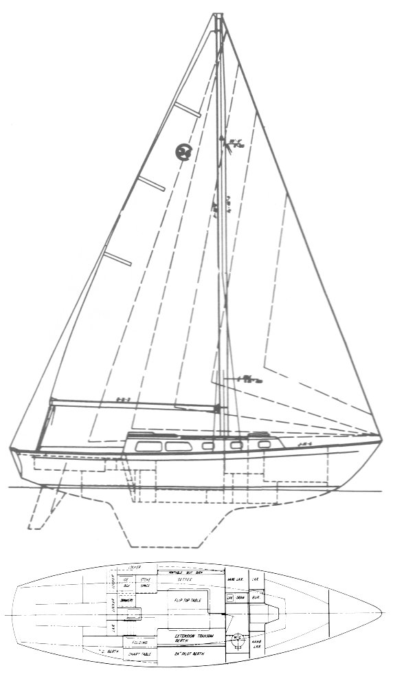 Cal 36 drawing on sailboatdata.com