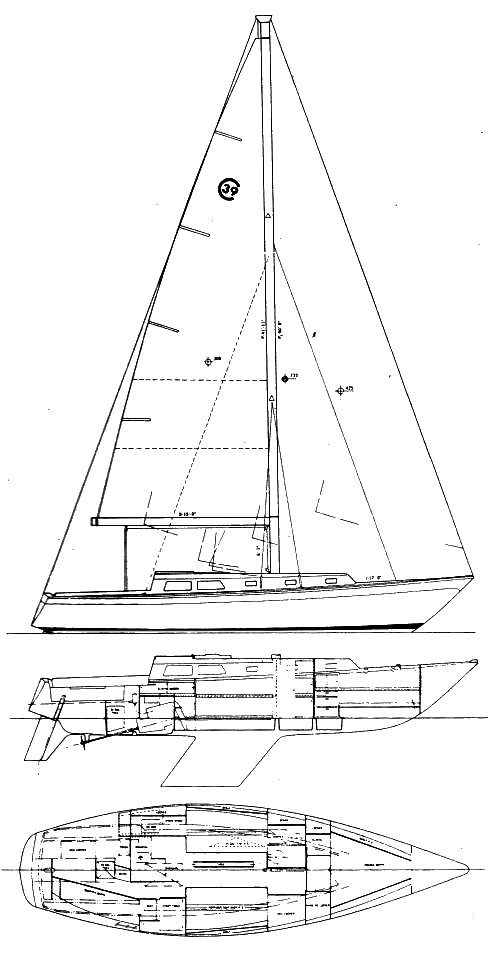 Cal 39 drawing on sailboatdata.com