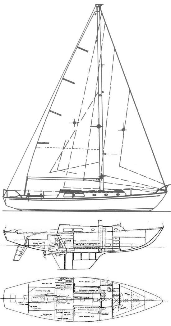 Cal 40 drawing on sailboatdata.com