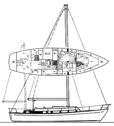 Cal 46 III drawing on sailboatdata.com
