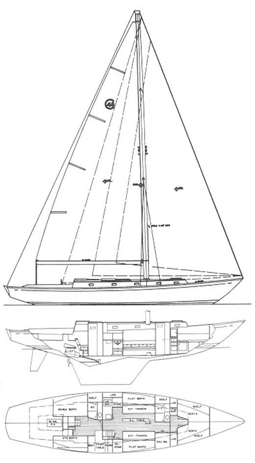 Cal 48 Sail Plan and Layout Drawing