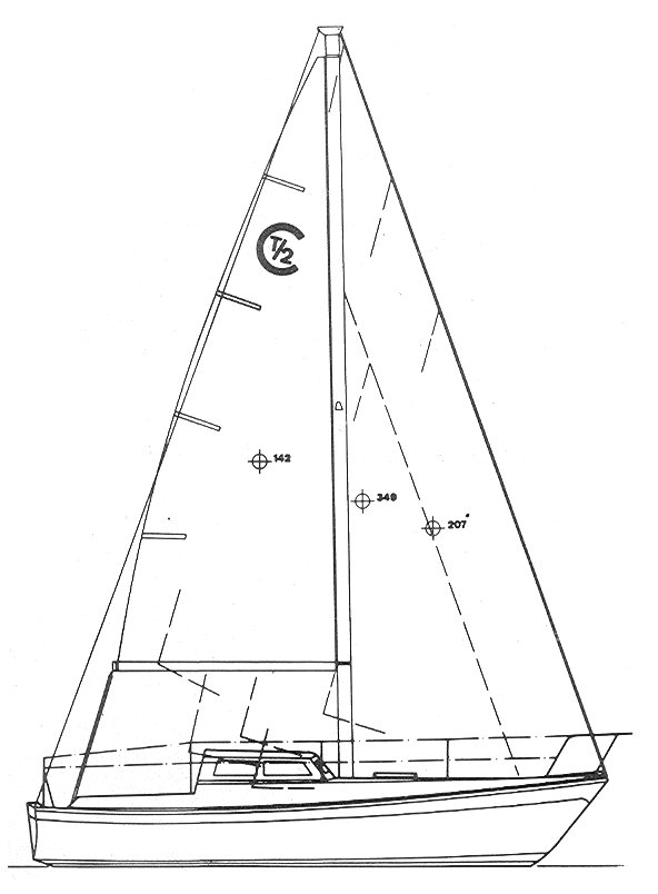 Cal T/2 drawing on sailboatdata.com