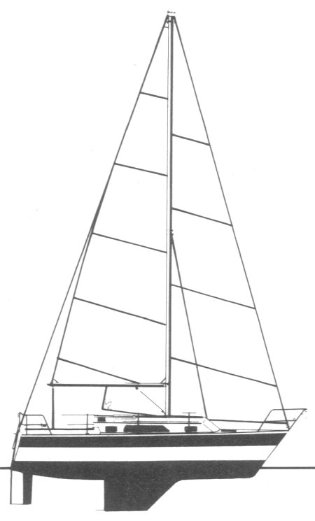 Caliber 28 drawing on sailboatdata.com