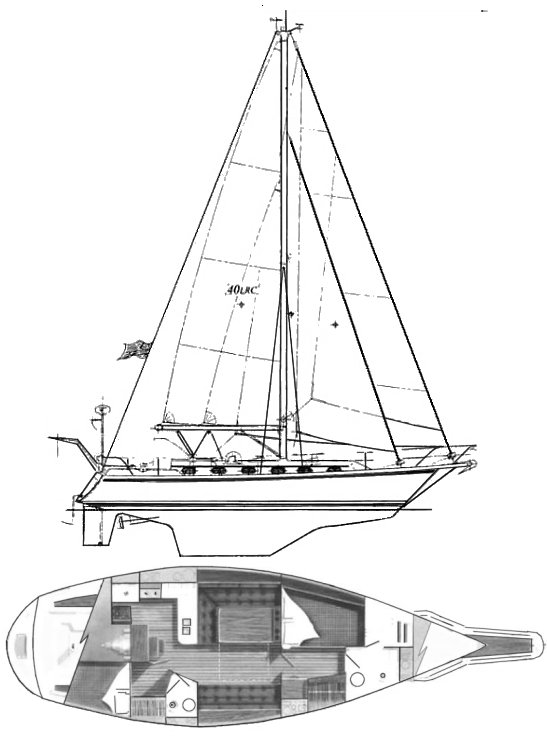 Caliber 40 LRC drawing on sailboatdata.com