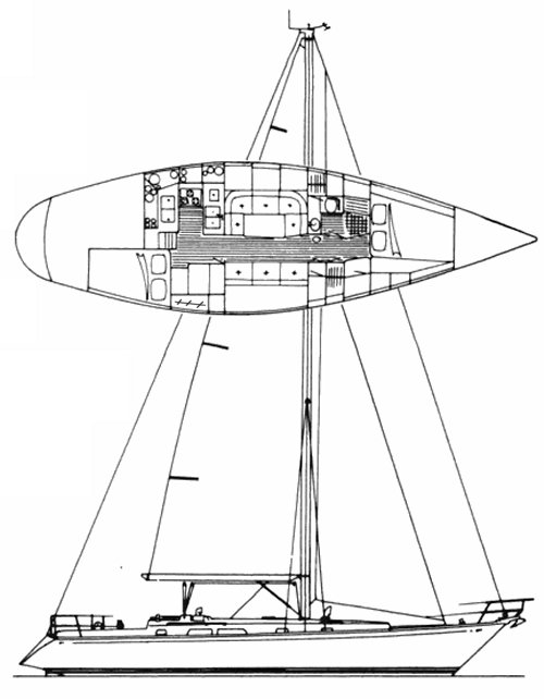 Cambria 40 drawing on sailboatdata.com