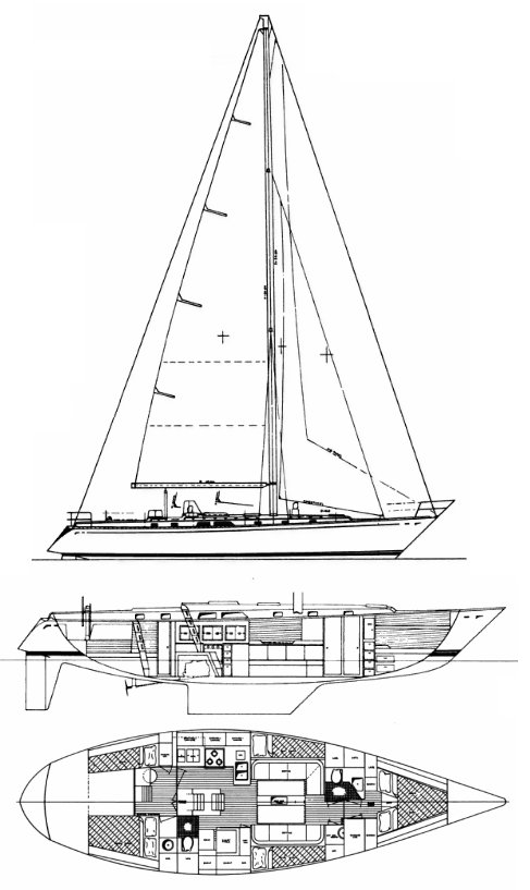 Cambria 44 drawing on sailboatdata.com