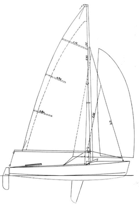 Caneton 57 drawing on sailboatdata.com