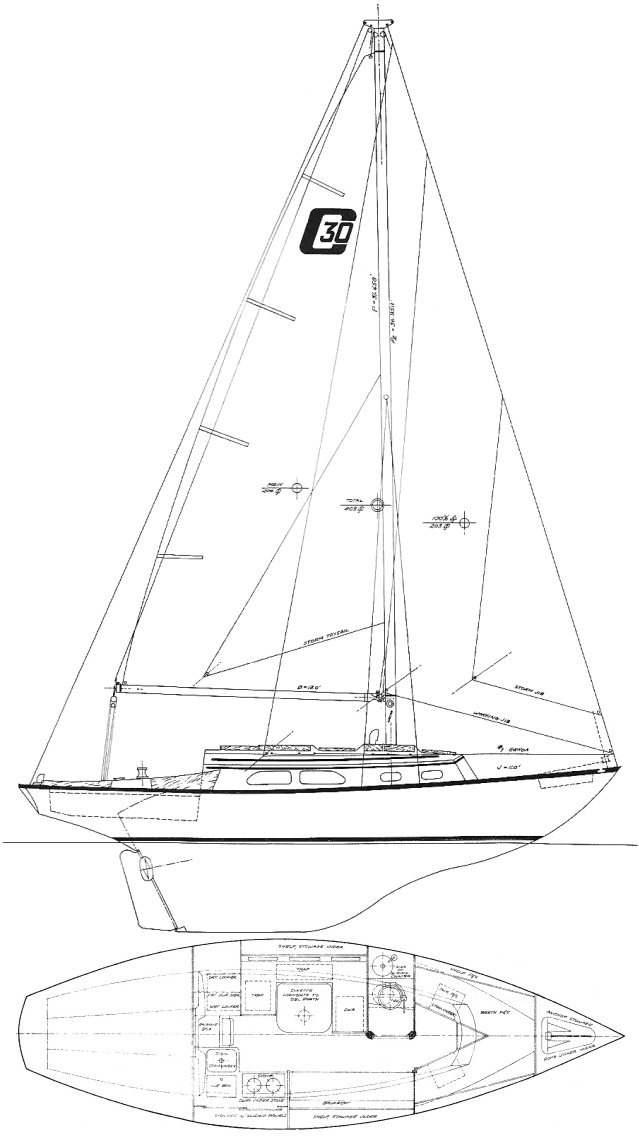 Cape 30 drawing on sailboatdata.com