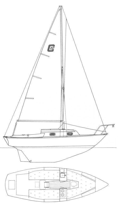 Cape Dory 22 drawing on sailboatdata.com