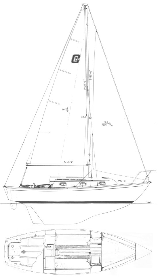 Cape Dory 26 drawing on sailboatdata.com