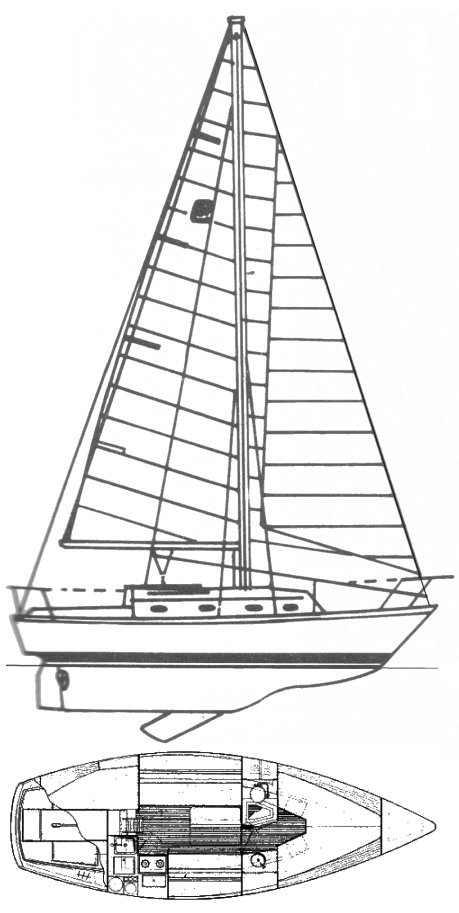 Cape Dory 270 drawing on sailboatdata.com