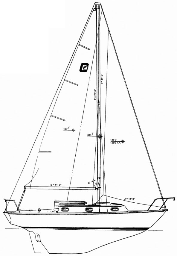 Cape Dory 27 drawing on sailboatdata.com