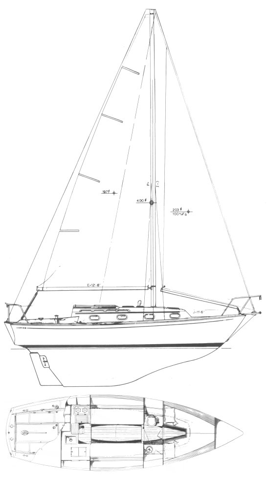 Cape Dory 28 drawing on sailboatdata.com