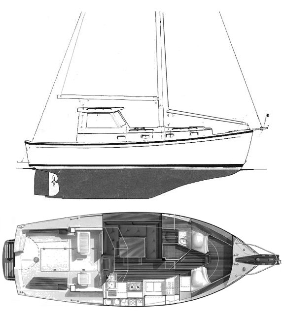 Cape Dory 300 MS drawing on sailboatdata.com