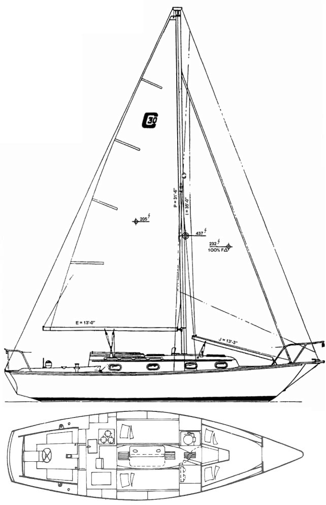 Cape Dory 30 (Cutter) drawing on sailboatdata.com