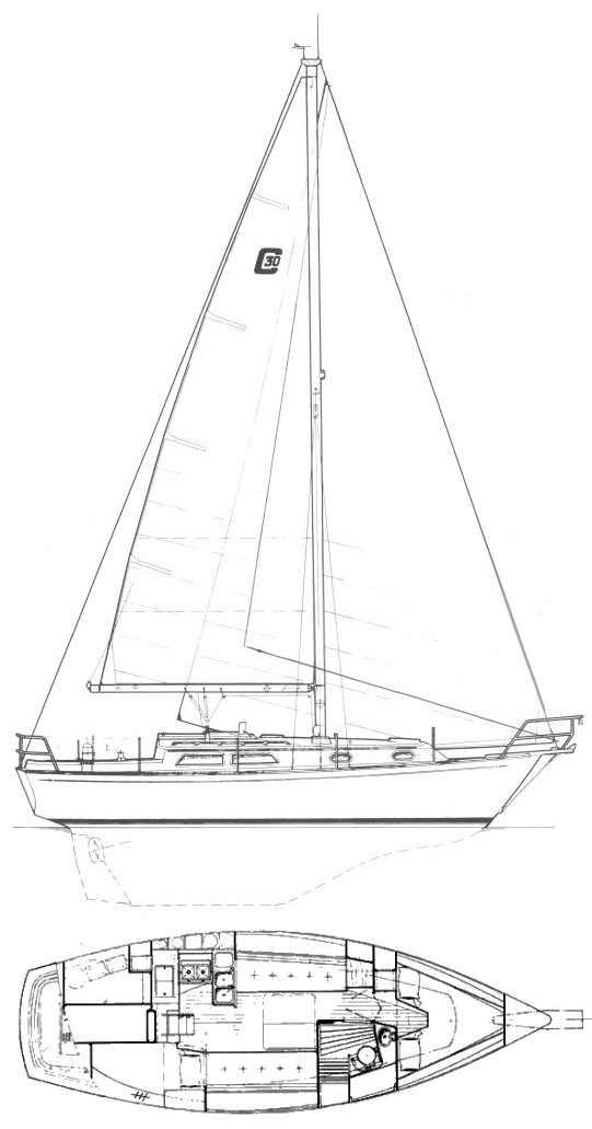 Cape Dory 30 MkII drawing on sailboatdata.com