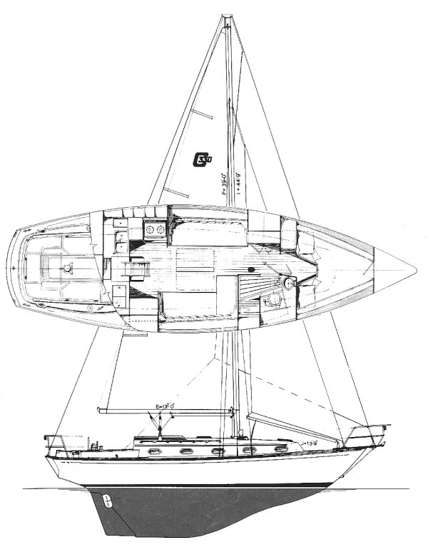 Cape Dory 330 drawing on sailboatdata.com