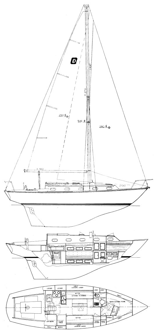 CAPE DORY 33 drawing