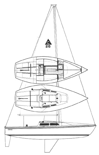 Capri 25 (Catalina) drawing on sailboatdata.com