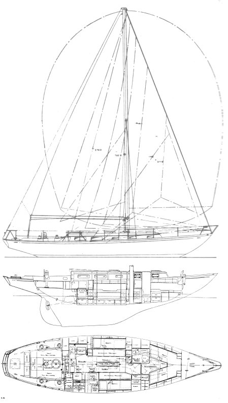 Caravelle 42 drawing on sailboatdata.com