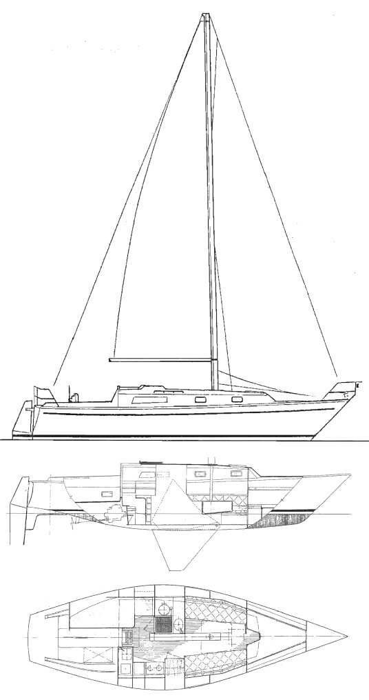 Carter 35 drawing on sailboatdata.com
